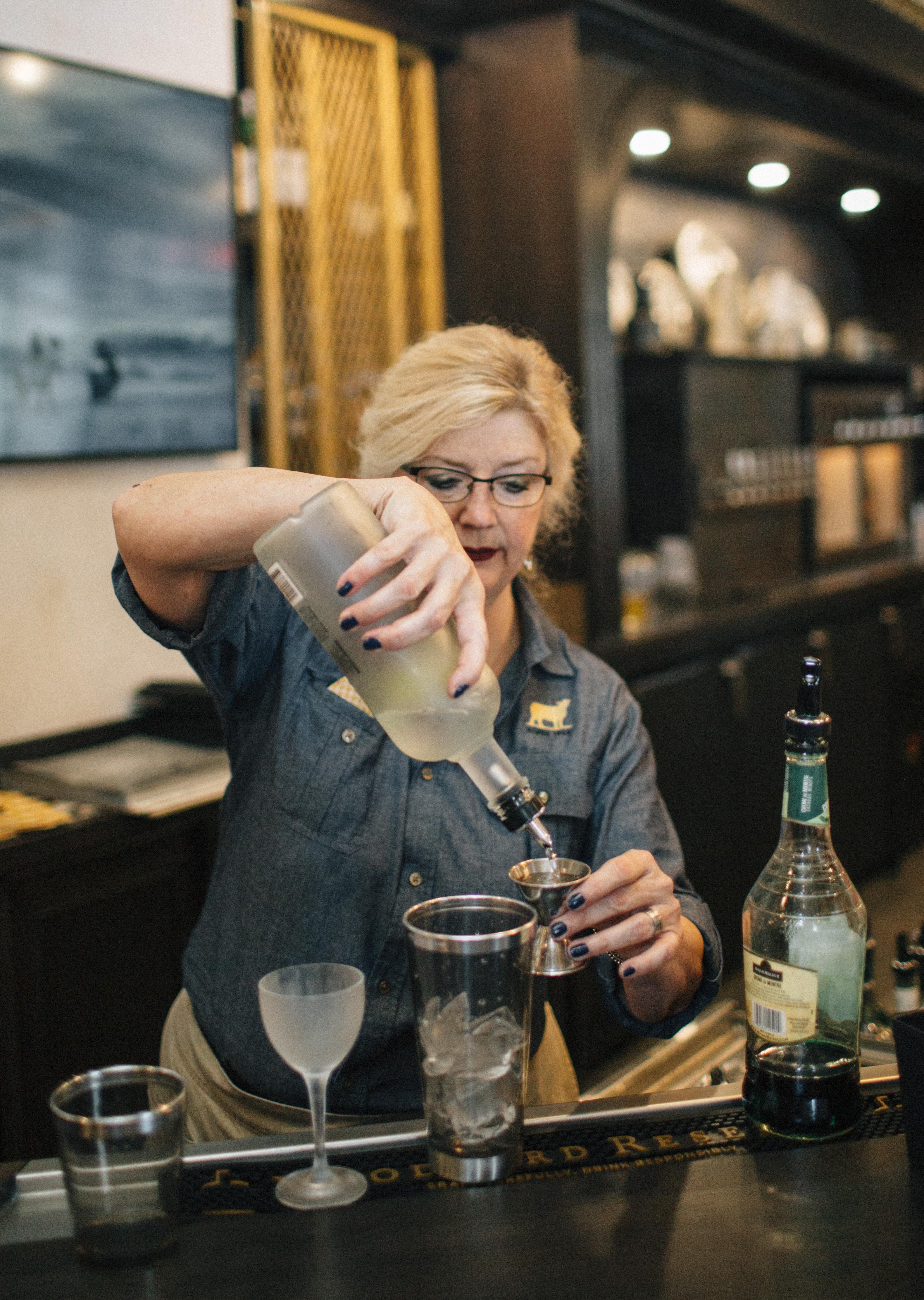 Golden Lamb bartender Karen Ayres