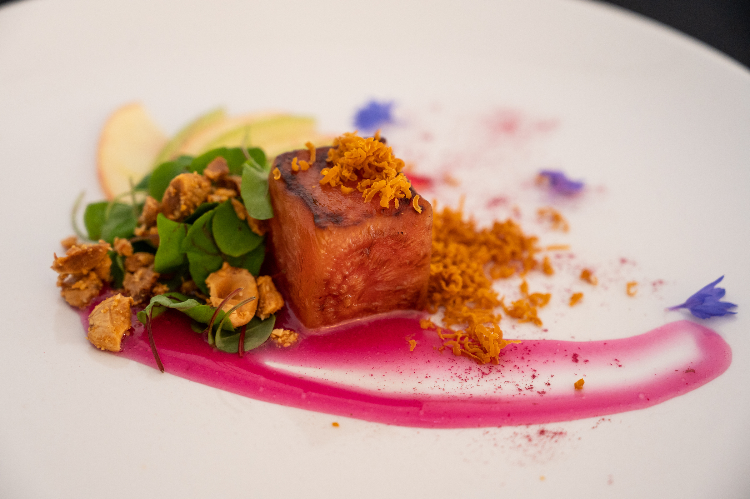 Roasted candy stripe beet salad with caramelized goat cheese and brown butter almonds