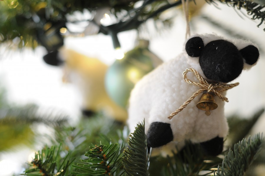 Golden Lamb Christmas ornament