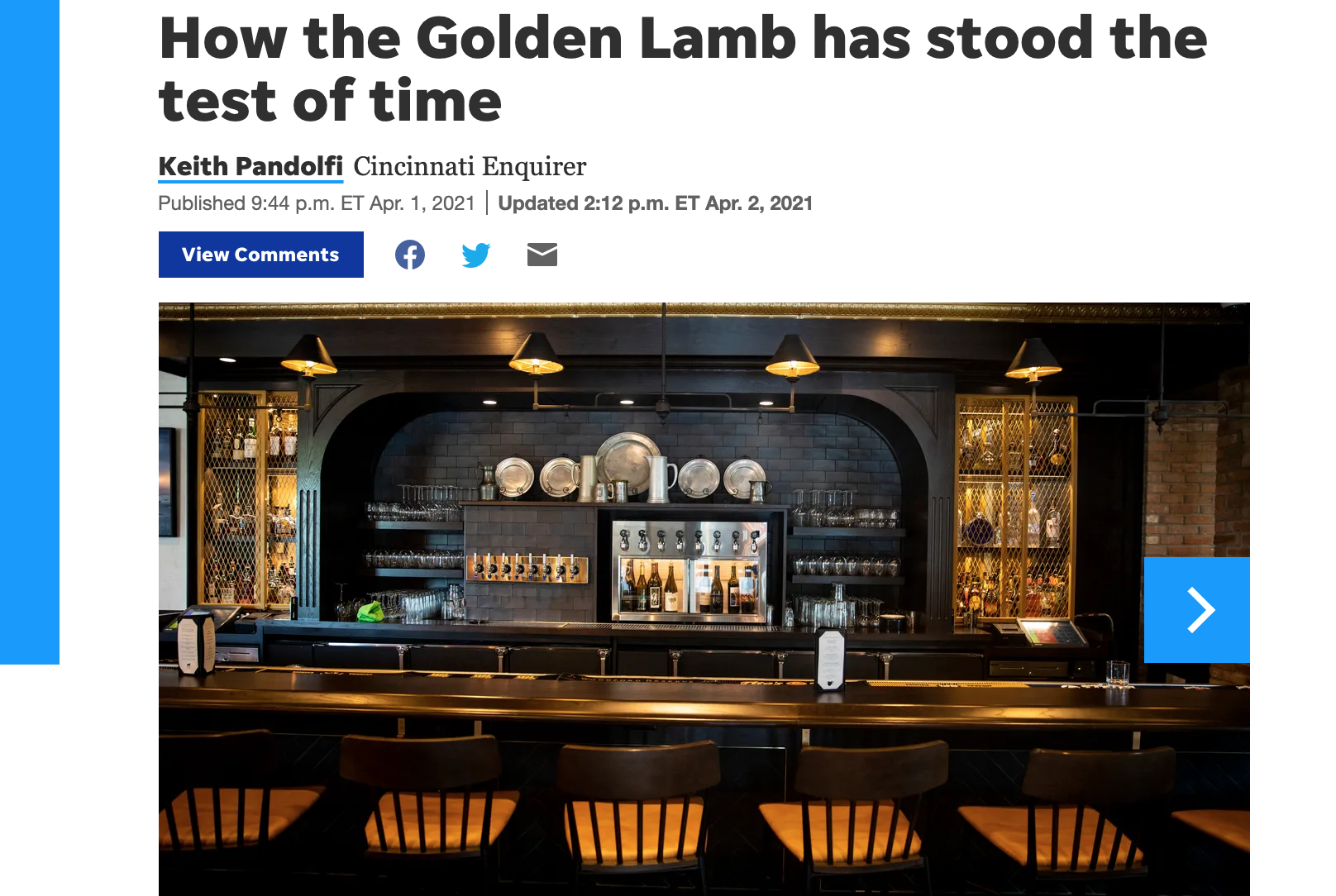 Enquirer reporter Keith Pandolfi visits the Golden Lamb